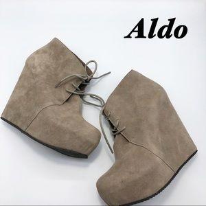 Aldo Taupe Hidden Wedge Tie Up Bootie 8